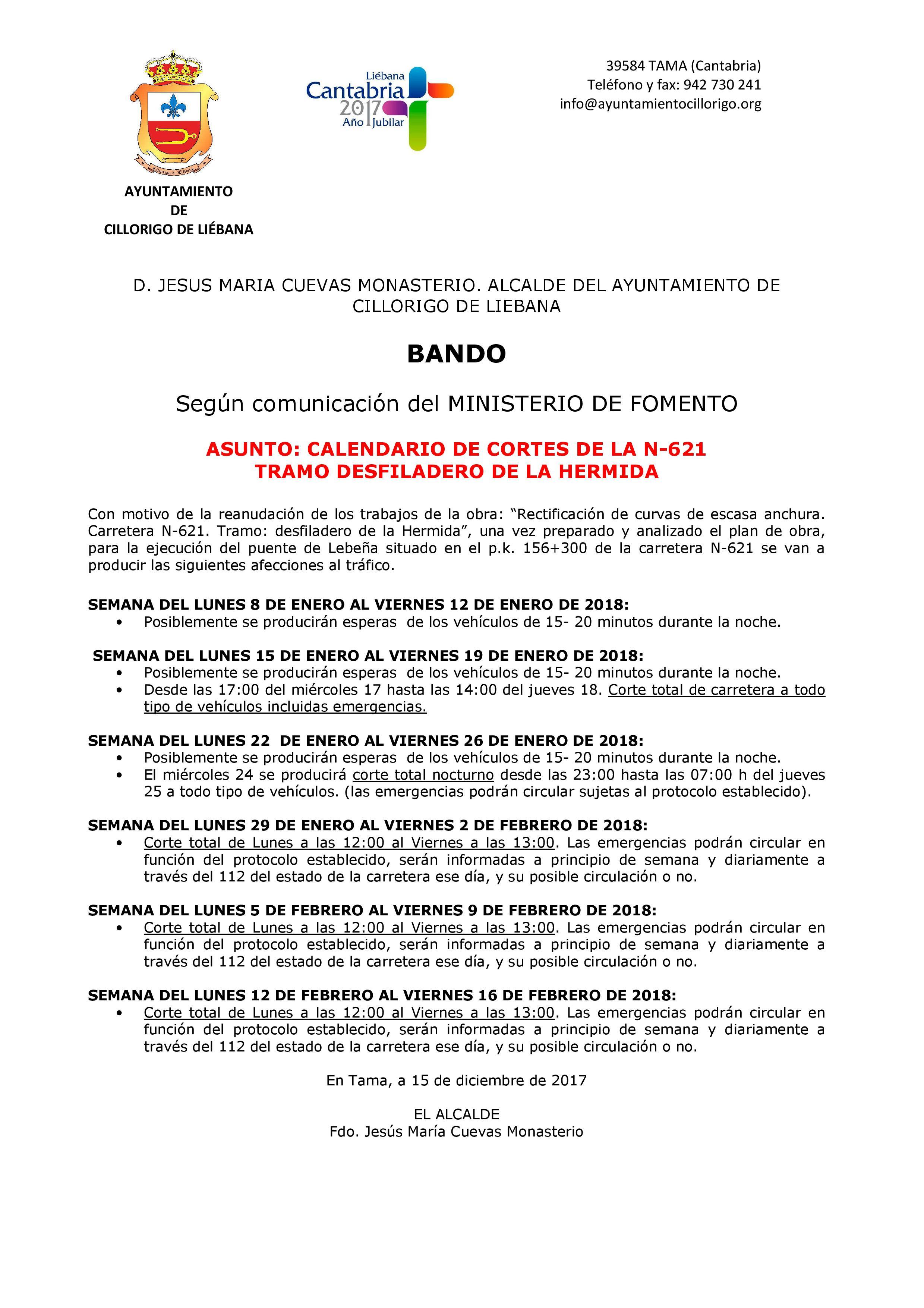 Calendario de Cortes Carretera Desfiladero de la Hermida - Grupo de ...