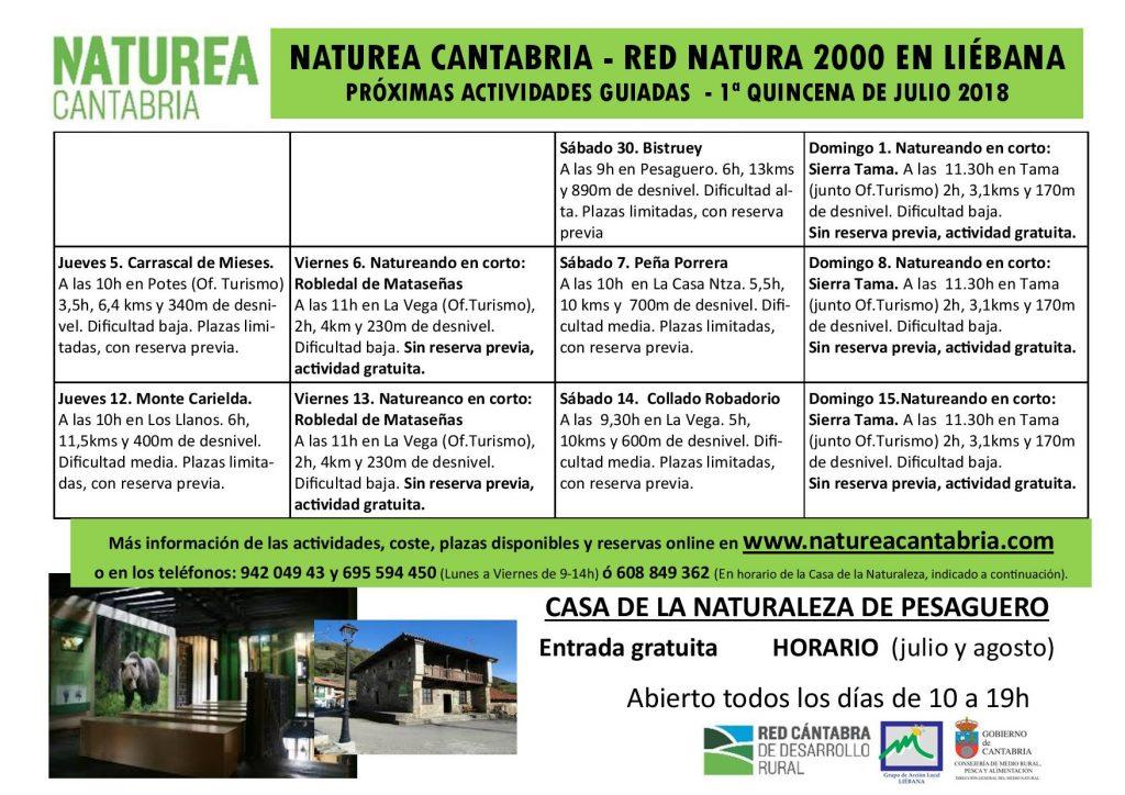 Calendario Julio Del 2000.Actividades Guiadas Naturea Cantabria Red Natura 2000 En